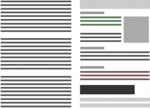 L'immagine a destra ricorda il modello di lettura ad F mentre l'immagine a sinistra non organizza il suo contenuto