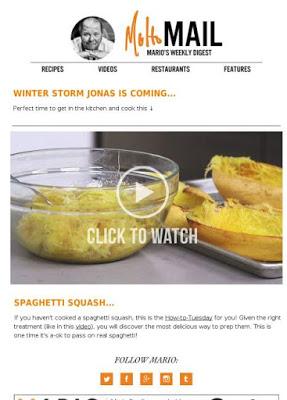 La newsletter di Batali: il cibo suscita inconsciamente l'attenzione perchè si rivolge agli istinti umani primordiali