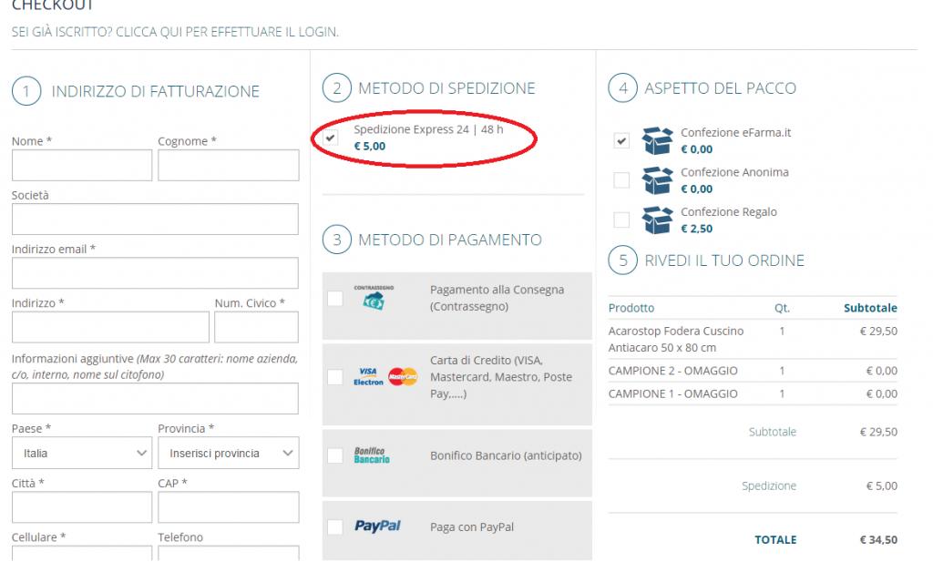 valutazione usabilità fase finale (checkout) dell'acquisto: troppo confusa