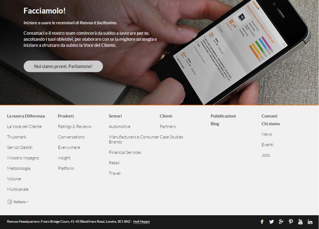valutazione di usabilità negativa per la call to action posta in fondo alla home page