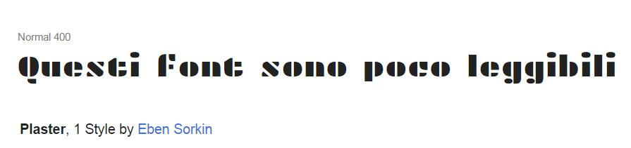 font con lettere troppo spaziate poco leggibile