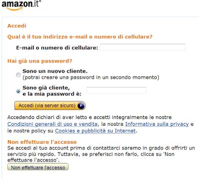 caso di Amazon: l'accesso tramite identificazione è messo come default